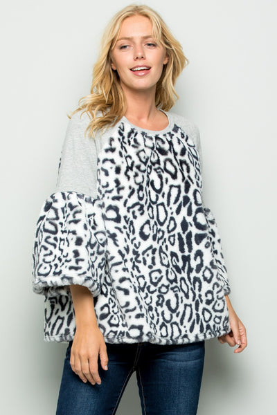 BRANNA LEOPARD TOP - SNOW