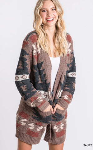TRIBAL PLUSH CARDIGAN  - TAUPE