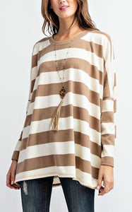 ELLE LAIN - RUGBY STRIPE TERRY TEE - TAUPE