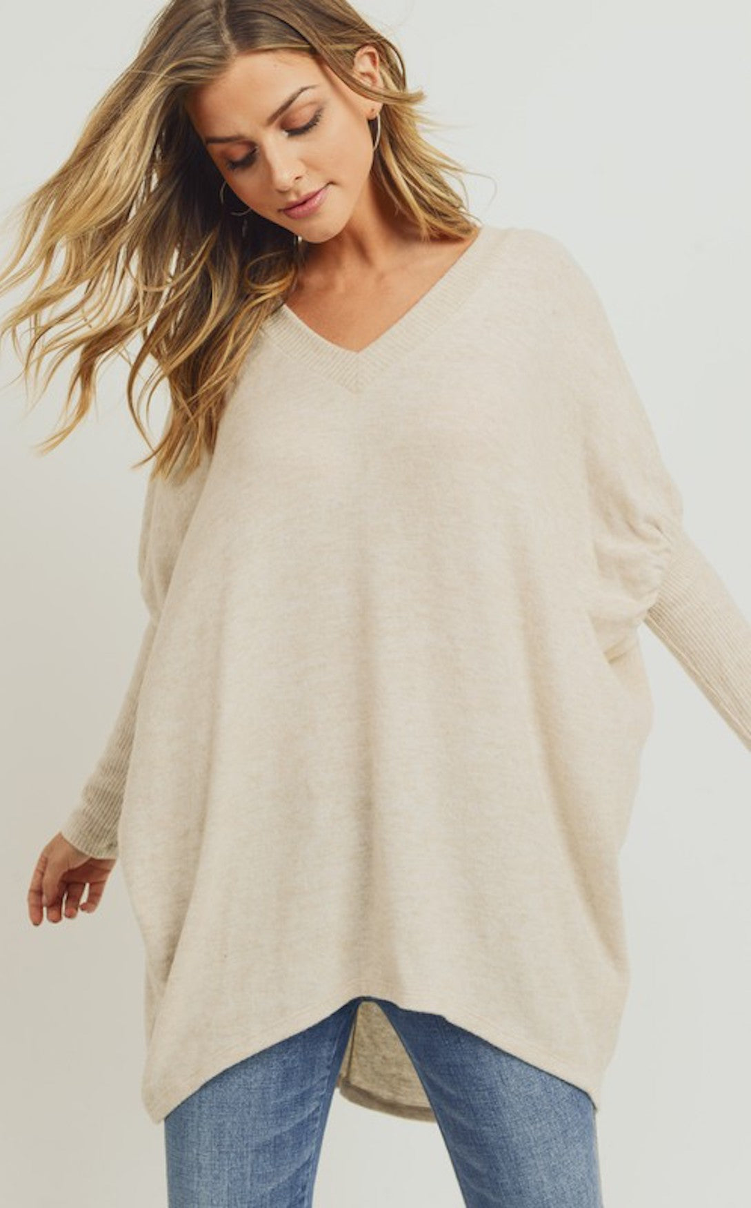 ELLE LAIN - BRUSHED V-NECK TUNIC - OATMEAL