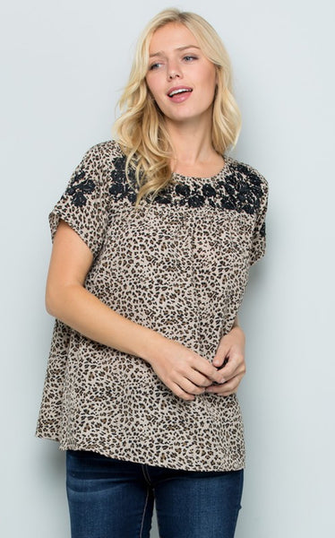 CHULA LEOPARD TOP - TAUPE