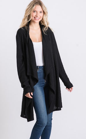 LOOSE LAYERS CARDIGAN - BLACK