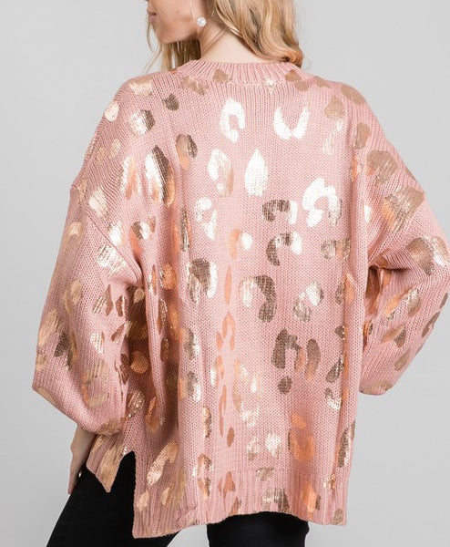 ELLE LAIN - METALLIC LEOPARD SWEATER - BLUSH