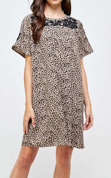 CHULA DRESS - LEOPARD - TAUPE