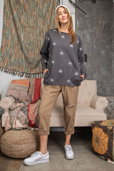 ALL STARS LONG SLEEVE TOP - CHARCOAL
