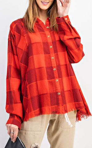 LOOSE PLAID BUTTON DOWN - RED