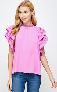 ELLE LAIN - FLIRTY MOCK NECK - PINK