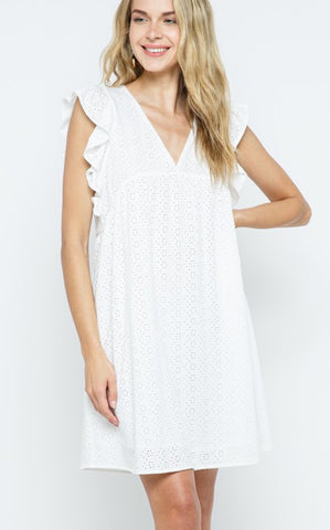 HAMPTON EYELET DRESS - WHITE