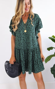 NAMBIA LEOPARD DRESS - GREEN