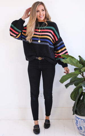 COLMAR STRIPE SWEATER - BLACK