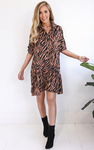 ZARA ZEBRA DRESS - TAN