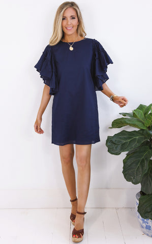 DARLA RUFFLE DRESS - NAVY