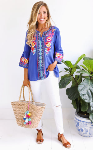 FIESTA BELL SLEEVE TOP- ROYAL
