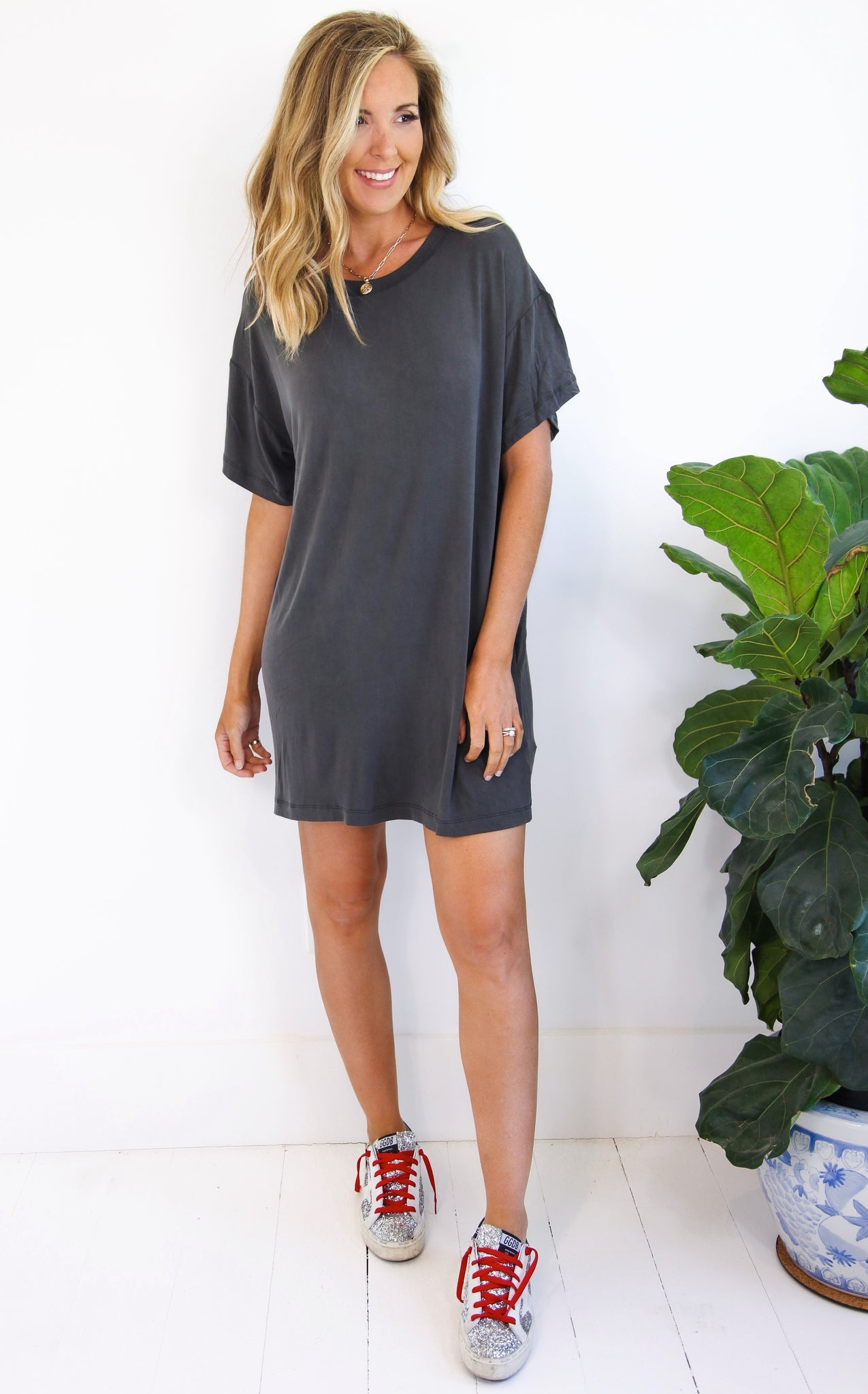 ELLE LAIN - WASHED JERSEY DRESS - GREY