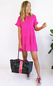 ELLE LAIN - FLIRT IT TIERED DRESS - HOT PINK