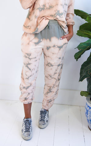 WASHED TIE DYE JOGGER - SAGE