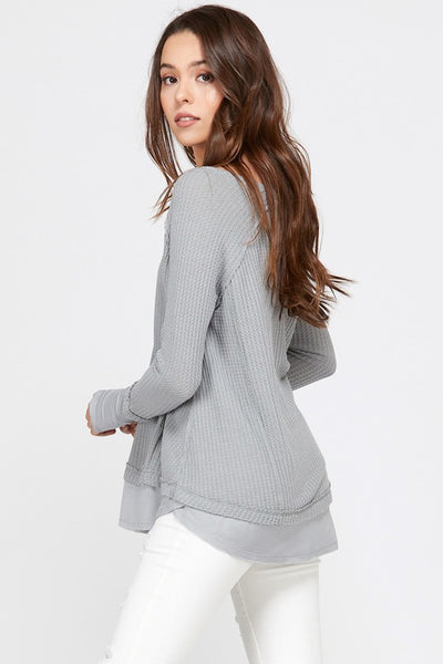 ELLE LAIN - ESTHER TWO LAYER HENLEY - GREY