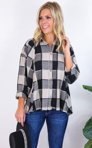 LOOSE PLAID BUTTON DOWN - BLACK