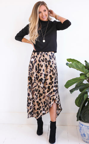 LEOPARD SKIRT - BROWN