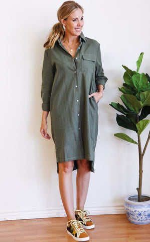 PATTON DRESS - OLIVE