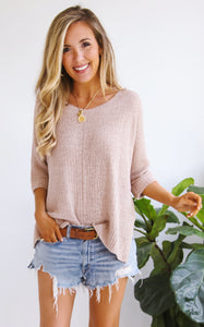 ELLA KNIT V-NECK - BLUSH
