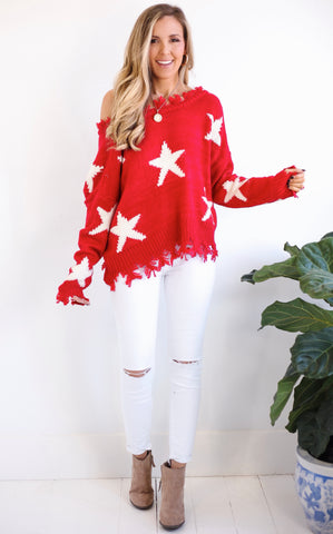 ELLE LAIN - GRACE STAR SWEATER - RED