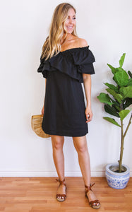 ELLE LAIN - NORA RUFFLE DRESS - BLACK