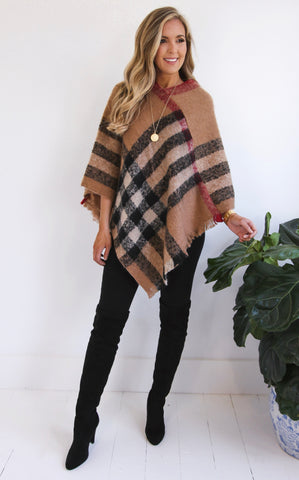 ASPEN PLAID PONCHO - TAN