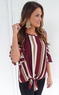 FLUTTER STRIPE TOP - BURGUNDY