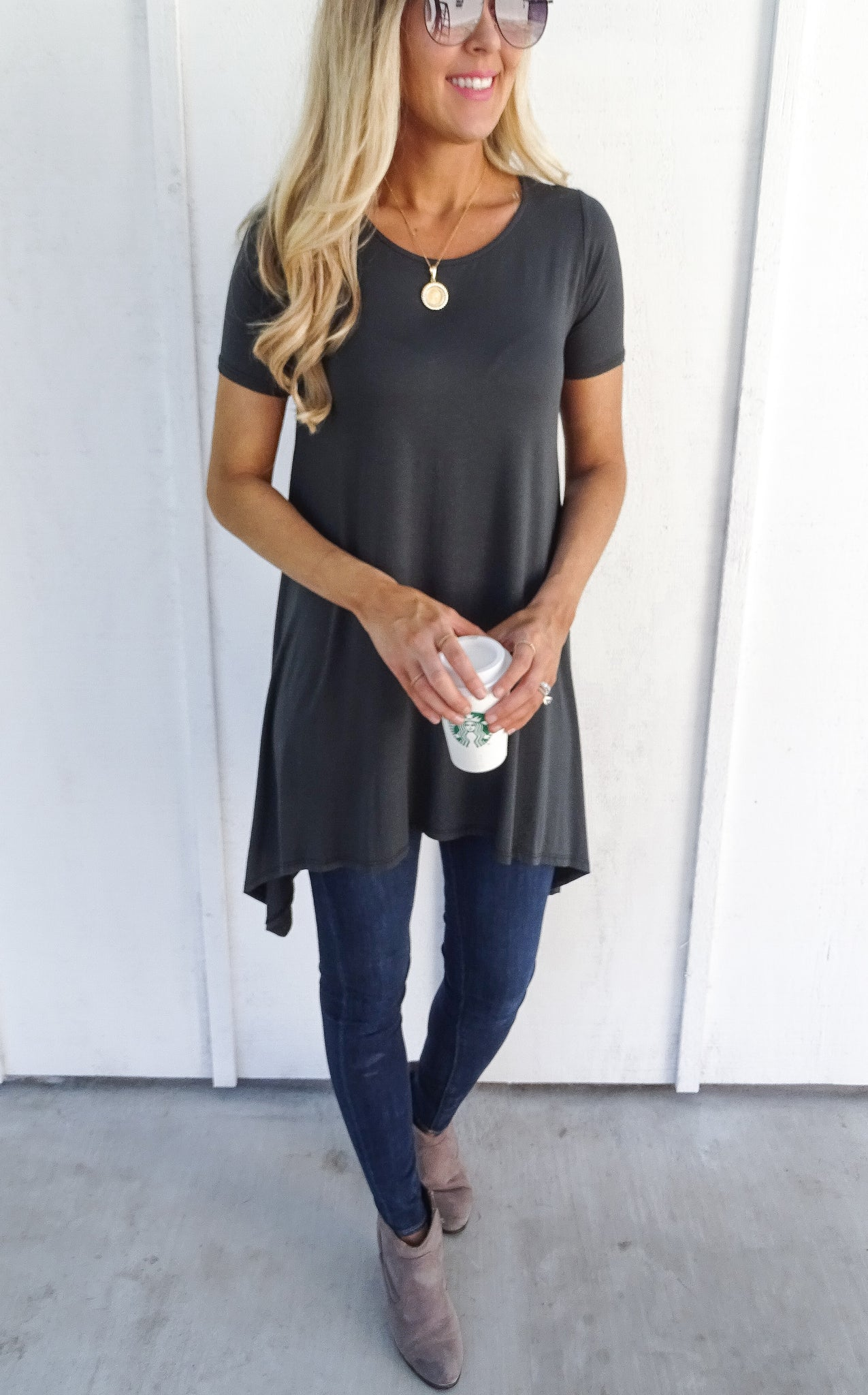 SHORT SLEEVE TUNIC - SLATE