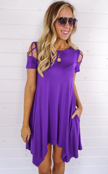 WEBBED SLEEVE SWING DRESS - PURPLE