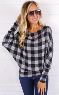 PLAID DOLMAN TOP - GREY/BLACK