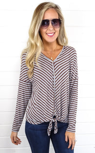 DAY STRIPE TOP - WINE