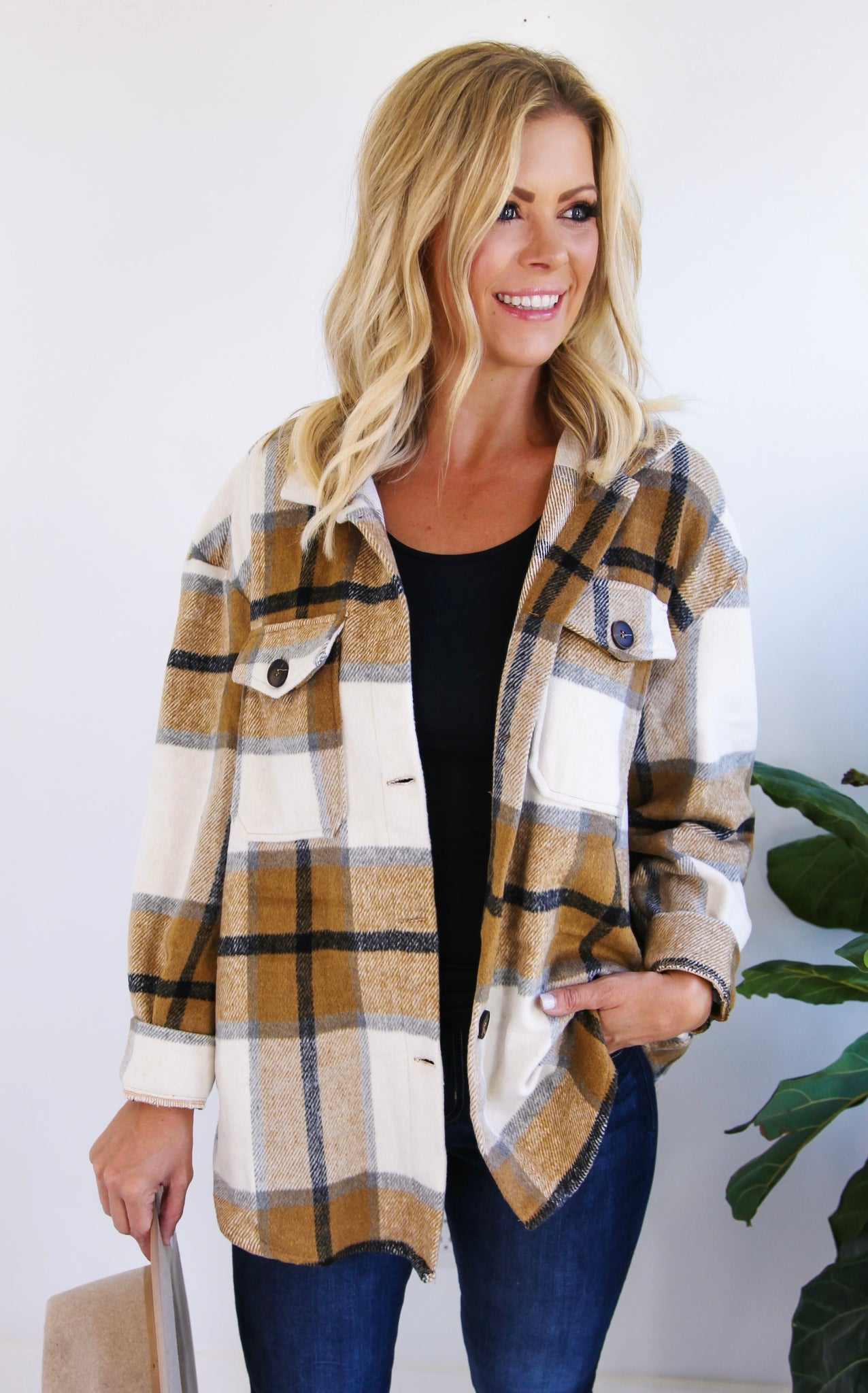 ELLE LAIN  - MINDI PLAID FLANNEL - MAPLE