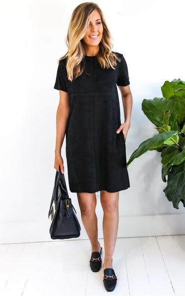 SUZI SUEDE DRESS - BLACK