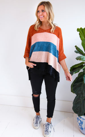 JEN STRIPED SWEATER - RUST