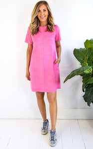 SUZI SUEDE DRESS - HOT PINK