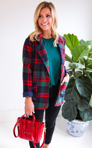 ELLE LAIN - CARTER PLAID BLAZER - RED/GREEN