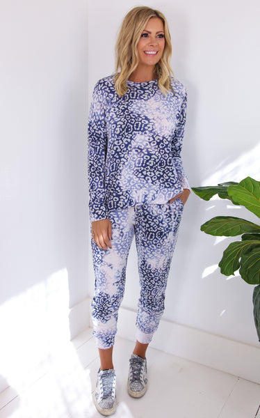 FISHER LEOPARD PULLOVER - BLUE