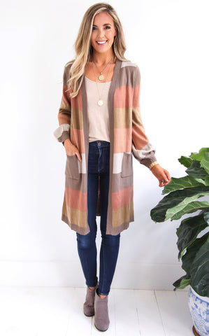 FALL STRIPE CARDIGAN