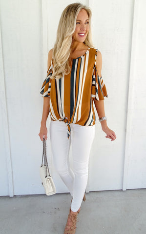FLUTTER STRIPE TOP - GOLD