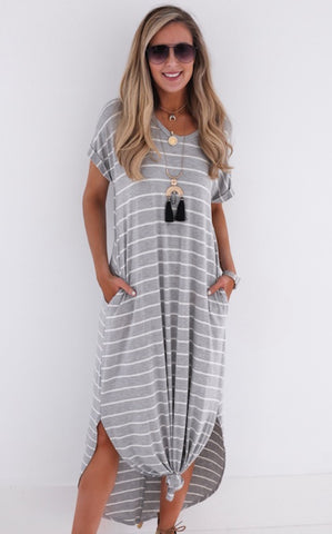 STRIPED MAXI - GREY