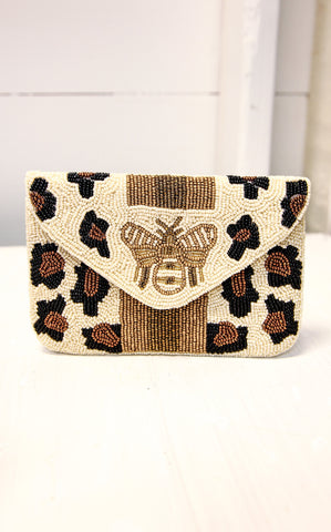 BEE MINE BEADED PURSE -  LEOPARD