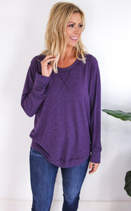 STYX TOP LONG SLEEVE - HEATHERED PURPLE