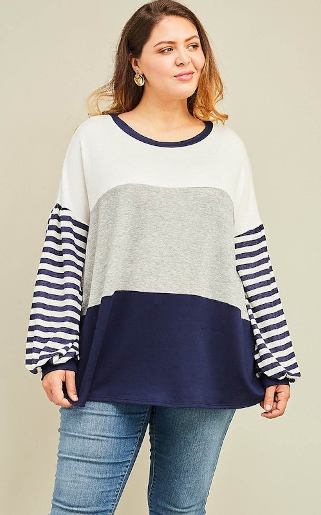CURVY - NAVAL STRIPE TOP