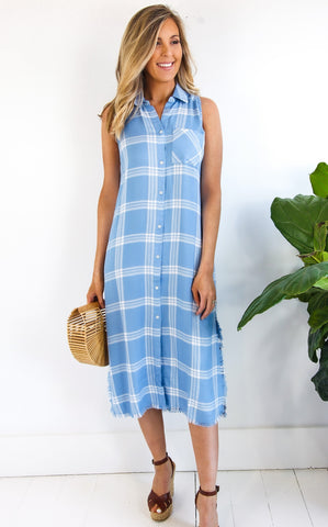 LOU BUTTON-DRESS - BLUE