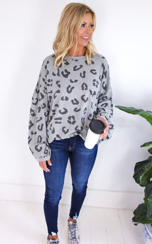 ELOISE LEOPARD TERRY PULLOVER - PLUS