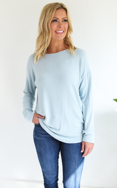 JASPER SOFT PULLOVER - LIGHT BLUE