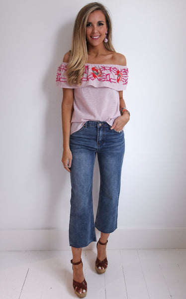 ASHLEIGH EMBROIDERED TOP - PINK