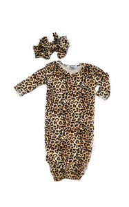 LEOPARD BABY GOWN - 0-3 MONTHS